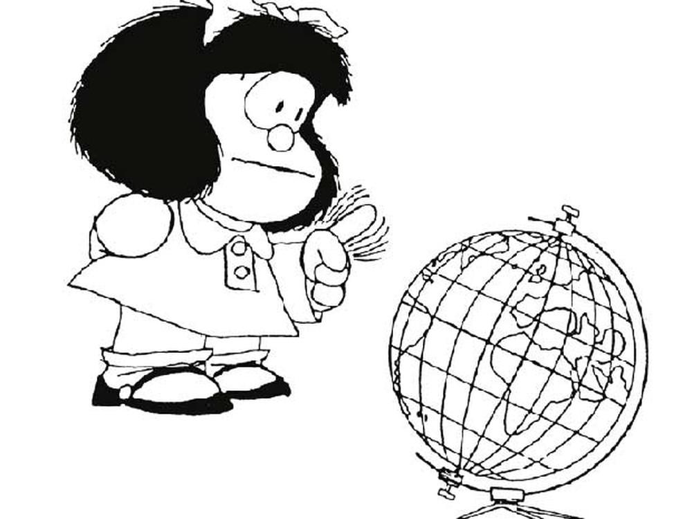 Mafalda, de Quino está em lugar destacado na exposição no Espaço Cultural Renato Russo — Foto: Reprodução/Quino